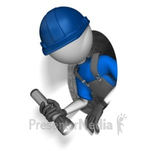ID# 21846 - Figure Climing Through Small Hole - Presentation Clipart