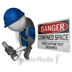 ID# 21849 - Figure In Confined Hole - Presentation Clipart