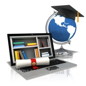 ID# 21873 - Diploma Laptop World - Presentation Clipart