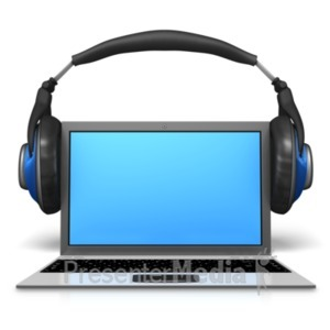 ID# 21918 - Headphones On Laptop - Presentation Clipart