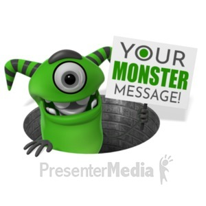 ID# 21969 - Monster Pop Out Of Hole Sign - Presentation Clipart