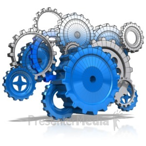 ID# 22011 - Wireframe Gears - Presentation Clipart