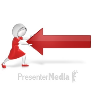 ID# 22022 - Woman Pushing Against Arrow - Presentation Clipart