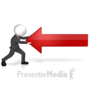 ID# 22023 - Man Pushing Against Arrow - Presentation Clipart