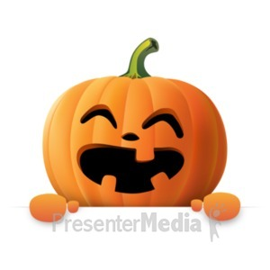 ID# 22097 - Happy Pumpkin Holding Blank Sign - Presentation Clipart