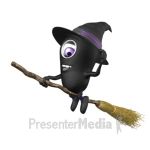 ID# 22129 - Character Halloween Broom - Presentation Clipart