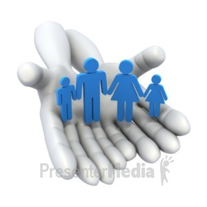 ID# 22144 - Hands Holding Family - Presentation Clipart