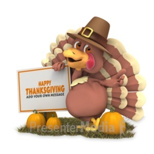ID# 22162 - Pilgrim Turkey Sign - Presentation Clipart