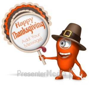ID# 22167 - Monster Minion Holding Turkey Sign - Presentation Clipart