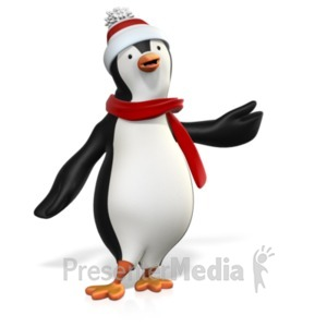 ID# 22181 - Winter Penguin Pointing Left - Presentation Clipart