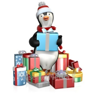 ID# 22189 - Penguin In A Pile Of Gifts - Presentation Clipart