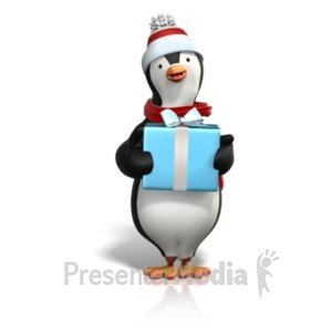 ID# 22198 - Winter Penguin Holding Gift - Presentation Clipart