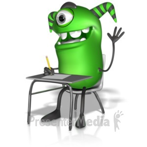 ID# 22235 - M Monster Writing At Desk - Presentation Clipart