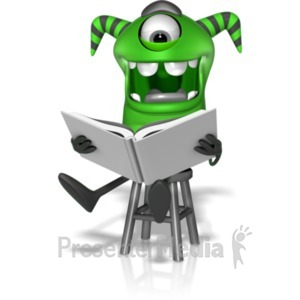 ID# 22238 - M Monster Reading Story - Presentation Clipart