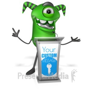 ID# 22245 - Monster Behind Podium - Presentation Clipart
