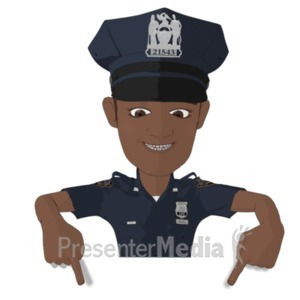 ID# 22268 - Policeman Pointing Down - Presentation Clipart