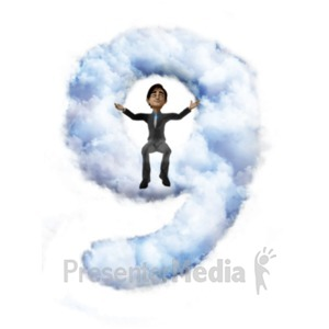 ID# 22289 - Brad Sitting On Cloud Nine - Presentation Clipart
