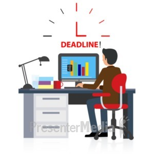 ID# 22290 - Office Deadline Computer - Presentation Clipart