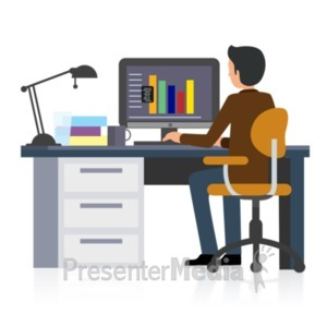 ID# 22296 - Office Businessman Working - Presentation Clipart