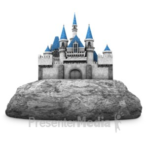 ID# 22298 - Castle Built On Rock - Presentation Clipart