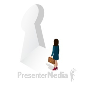 ID# 22359 - Key Security Woman - Presentation Clipart