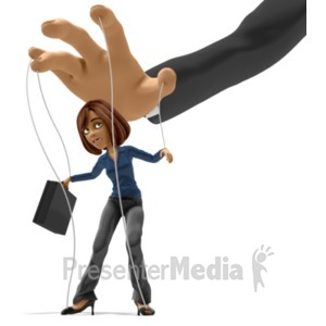 ID# 22369 - Business Woman Puppet - Presentation Clipart