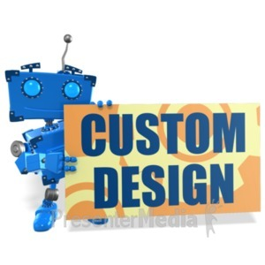 ID# 22387 - Boxy Robot Sign Custom - Presentation Clipart