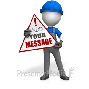 ID# 22389 - Worker Holding Custom Sign - Presentation Clipart