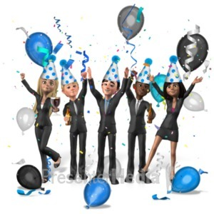 ID# 22392 - Group Business People Party - Presentation Clipart