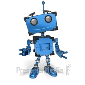 ID# 22407 - Boxy Robot Standing Pose - Presentation Clipart