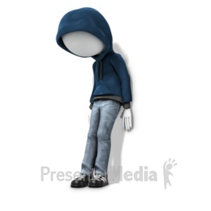 ID# 22457 - Youth Depressed Against Wall - Presentation Clipart