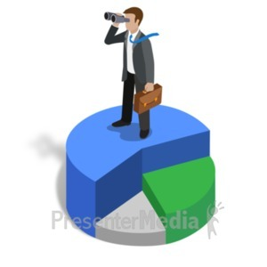 ID# 22475 - Graph Biz Guy Lookout - Presentation Clipart