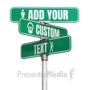 ID# 22482 - Three Way Custom Street Sign - Presentation Clipart