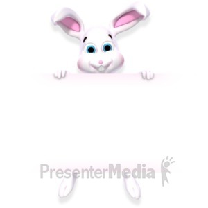 ID# 22519 - Bunny Holding Sign - Presentation Clipart