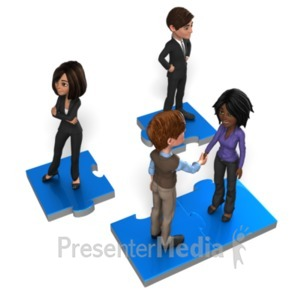 ID# 22534 - Business People On Puzzle - Presentation Clipart