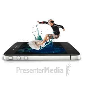 ID# 22554 - Surfer Phone Splash - Presentation Clipart