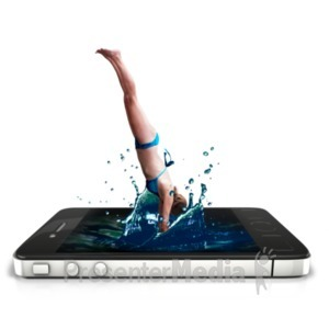 ID# 22555 - Swimmer Phone Splash - Presentation Clipart