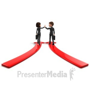 ID# 22563 - Business People Meet Arrows - Presentation Clipart