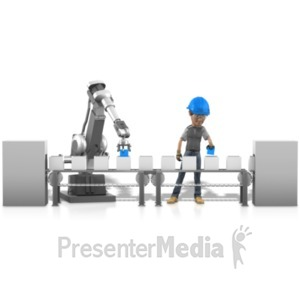 ID# 22576 - Human Robot Working Together - Presentation Clipart