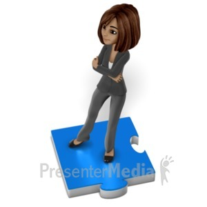 ID# 22598 - Business Woman Puzzle Piece - Presentation Clipart