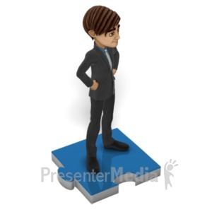 ID# 22599 - Businessman Puzzle Piece - Presentation Clipart