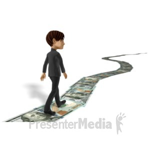 ID# 22611 - Businessman Walking Money Trail - Presentation Clipart