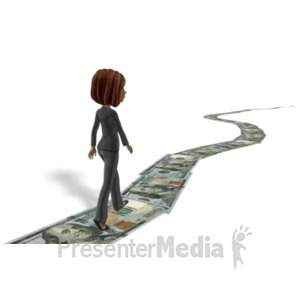 ID# 22612 - Business Woman Walking Money Trail - Presentation Clipart