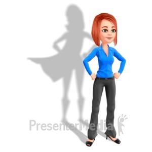ID# 22613 - Business Woman Superhero Shadow - Presentation Clipart