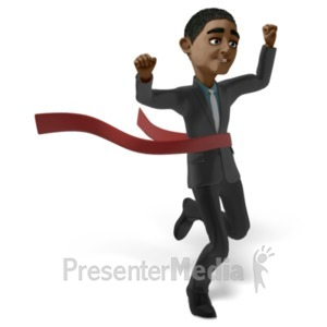 ID# 22657 - Ethan Race Raise Hands - Presentation Clipart