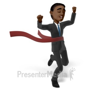 ID# 22658 - Brad Race Raise Hands - Presentation Clipart