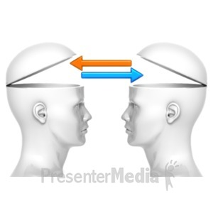 ID# 22683 - Heads Trading Arrows - Presentation Clipart