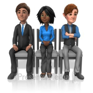 ID# 22709 - Business People Sit Look - Presentation Clipart