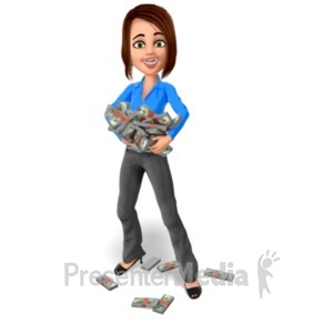 ID# 22736 - Business Woman Hold Stack Money - Presentation Clipart