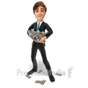 ID# 22737 - Businessman Hold Stack Money - Presentation Clipart